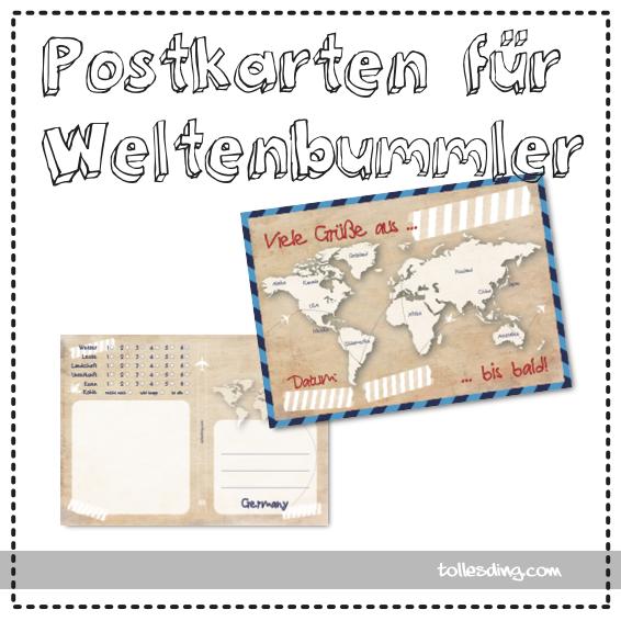 Weltenbummler Postkarten 10er Set