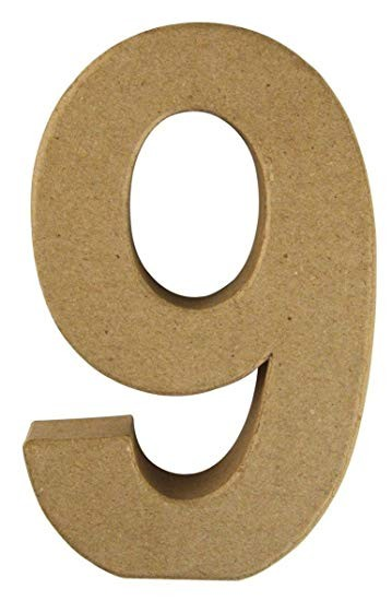 Pappmaché-Zahl 9