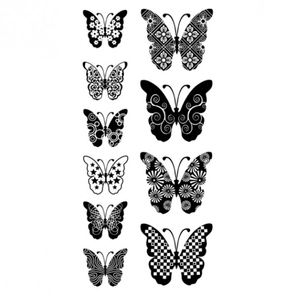 Clearstamp Patterned Butterflies