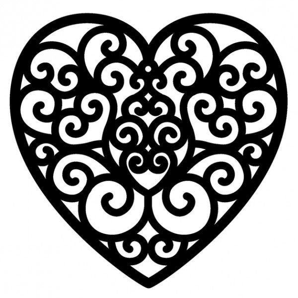 Holzstempel Herzornament