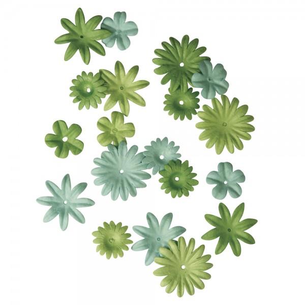 Papier Blütenmischung blau-grün