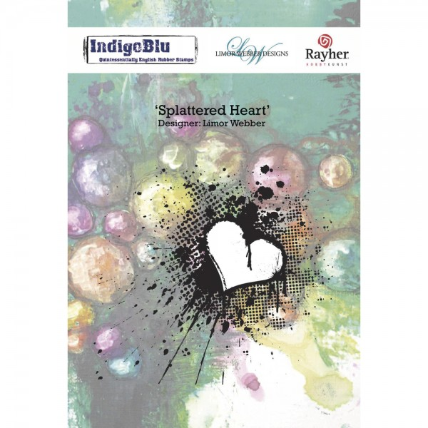 Gummistempel Splattered Heart