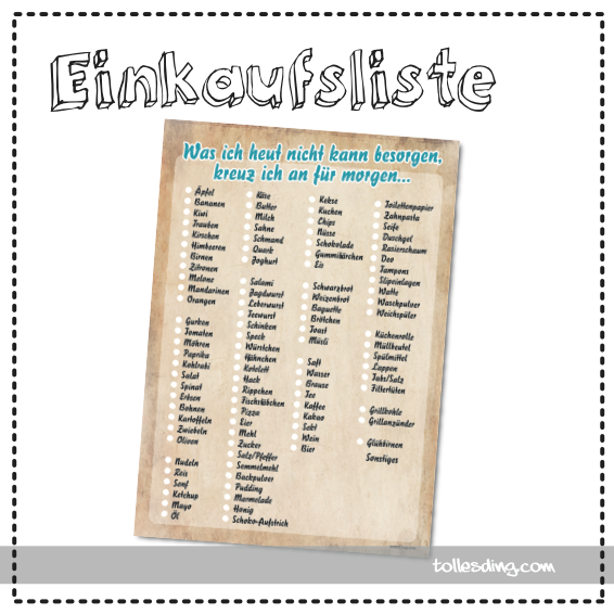Einkaufsliste DIN A5